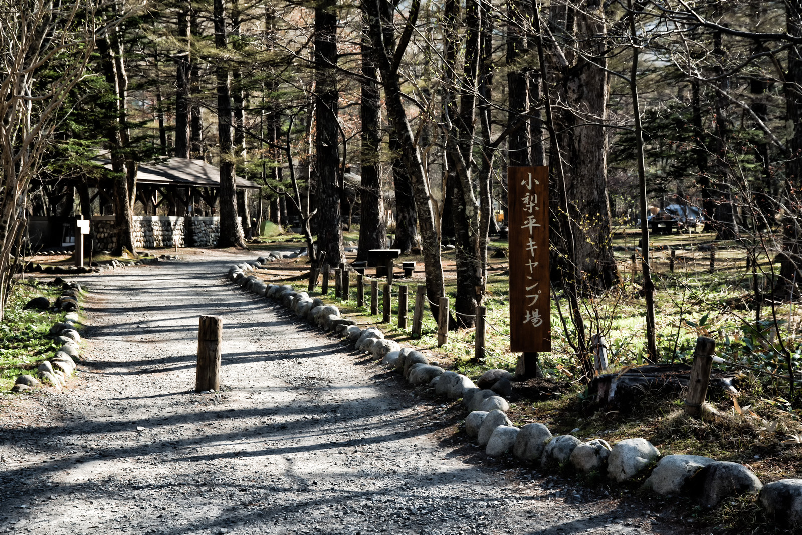 「小梨平キャンプ場へ続く道」の写真