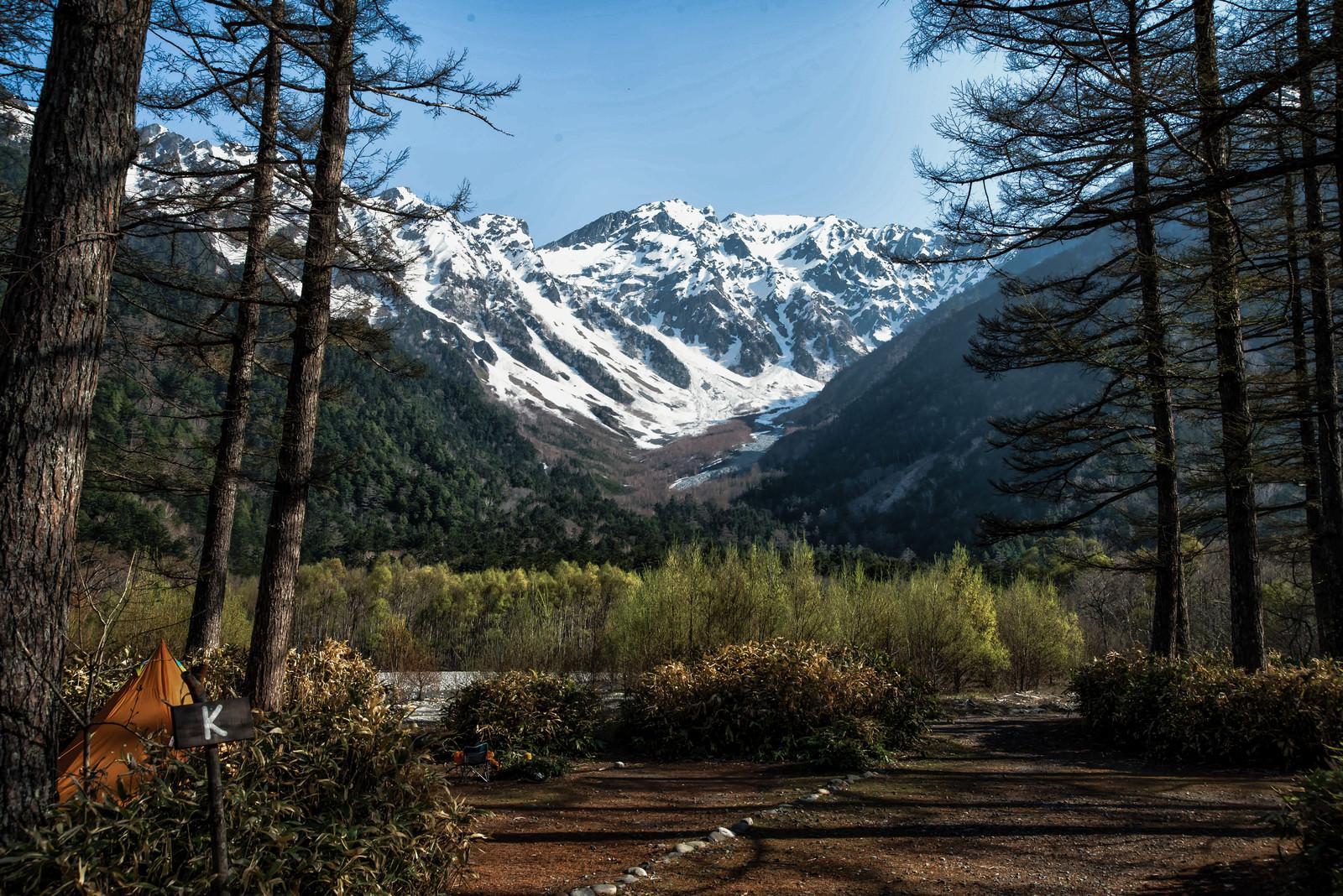 「小梨平キャンプ場から見る雪山」の写真