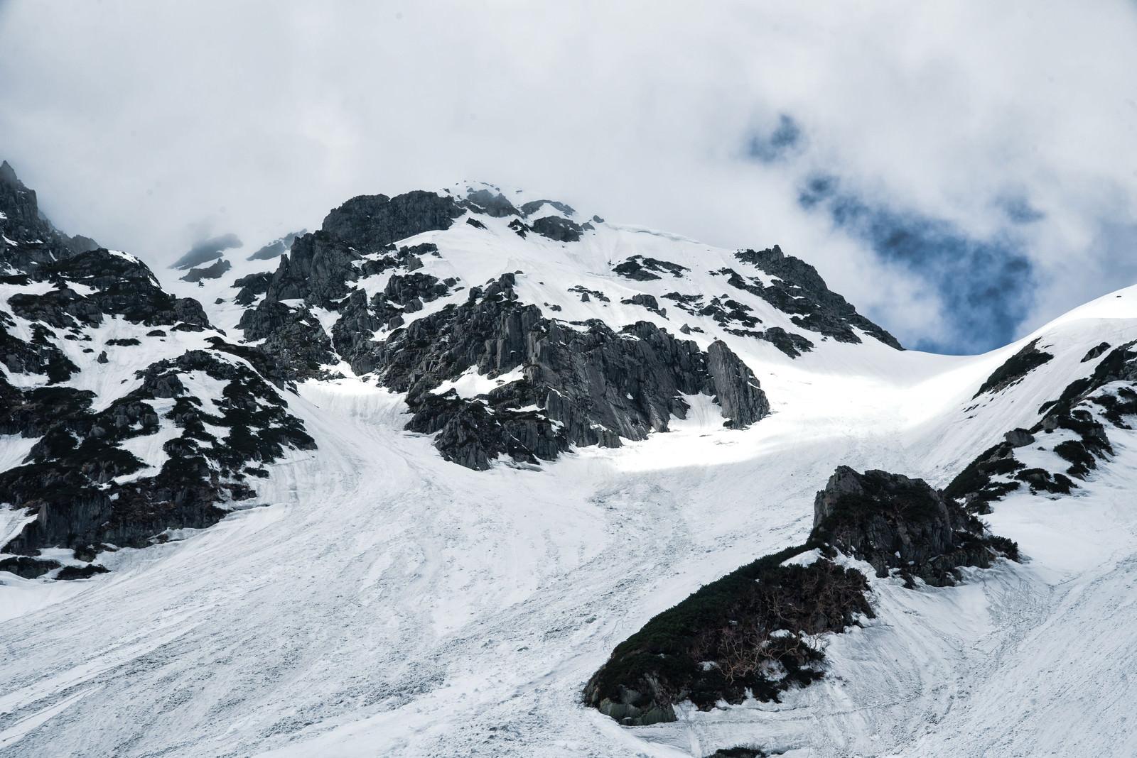 「冬のあずき沢と奥穂高岳(飛騨山脈)」の写真