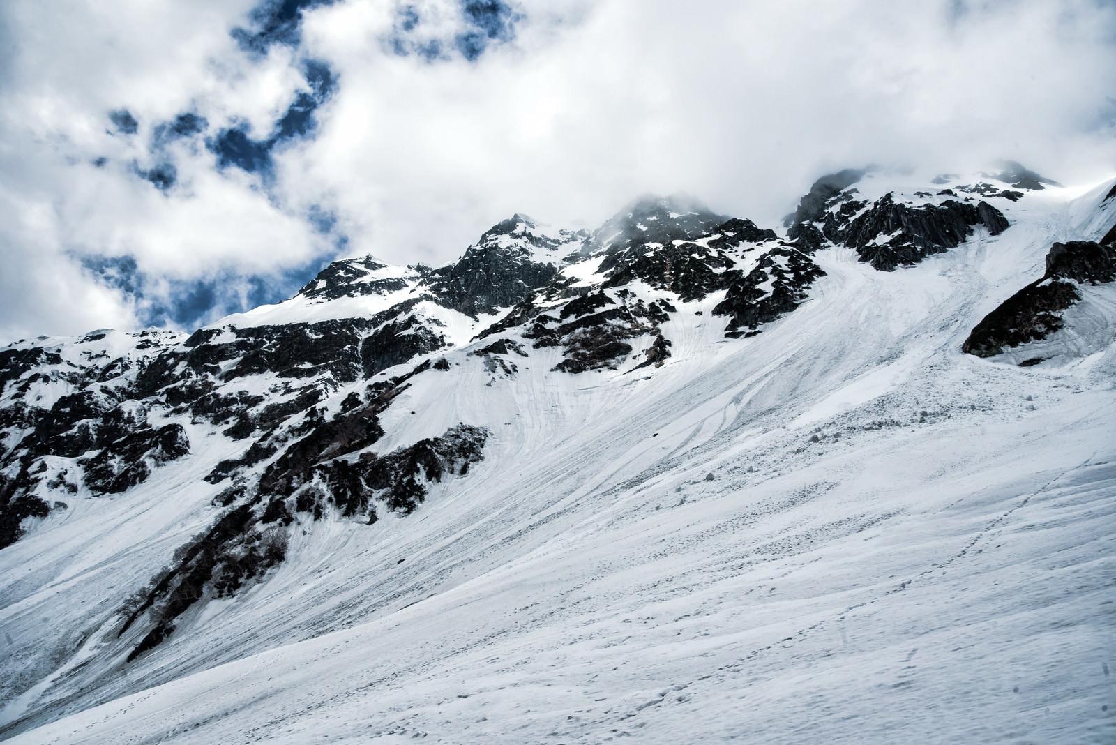 「雪崩跡の残るあずき沢(飛騨山脈)」の写真