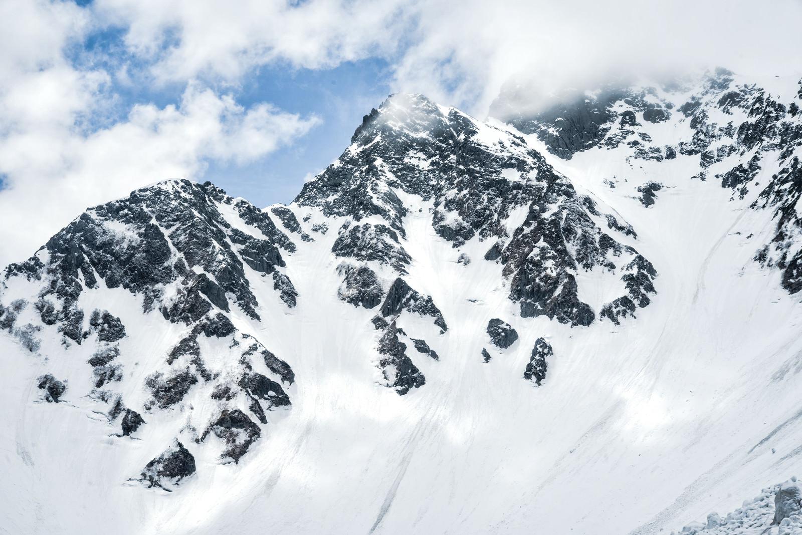 「前穂高岳北尾根の雪の断崖(北アルプス)」の写真