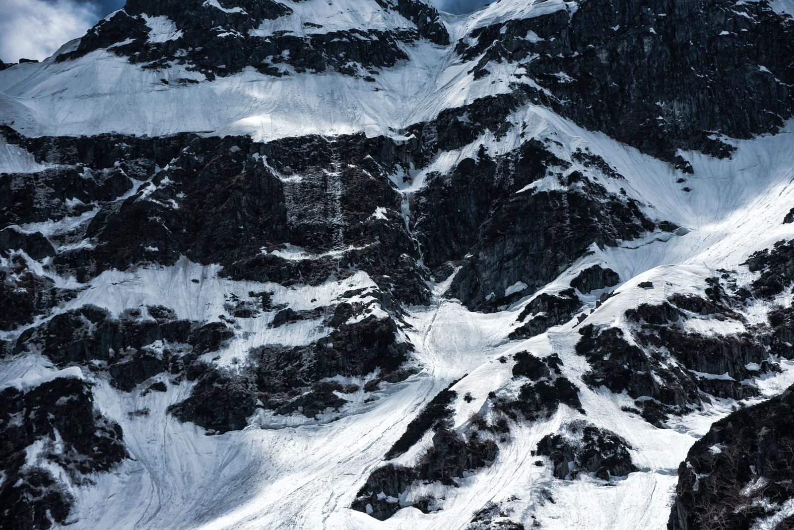 「雪崩発生地帯の岩尾根(奥穂高岳東稜)」の写真