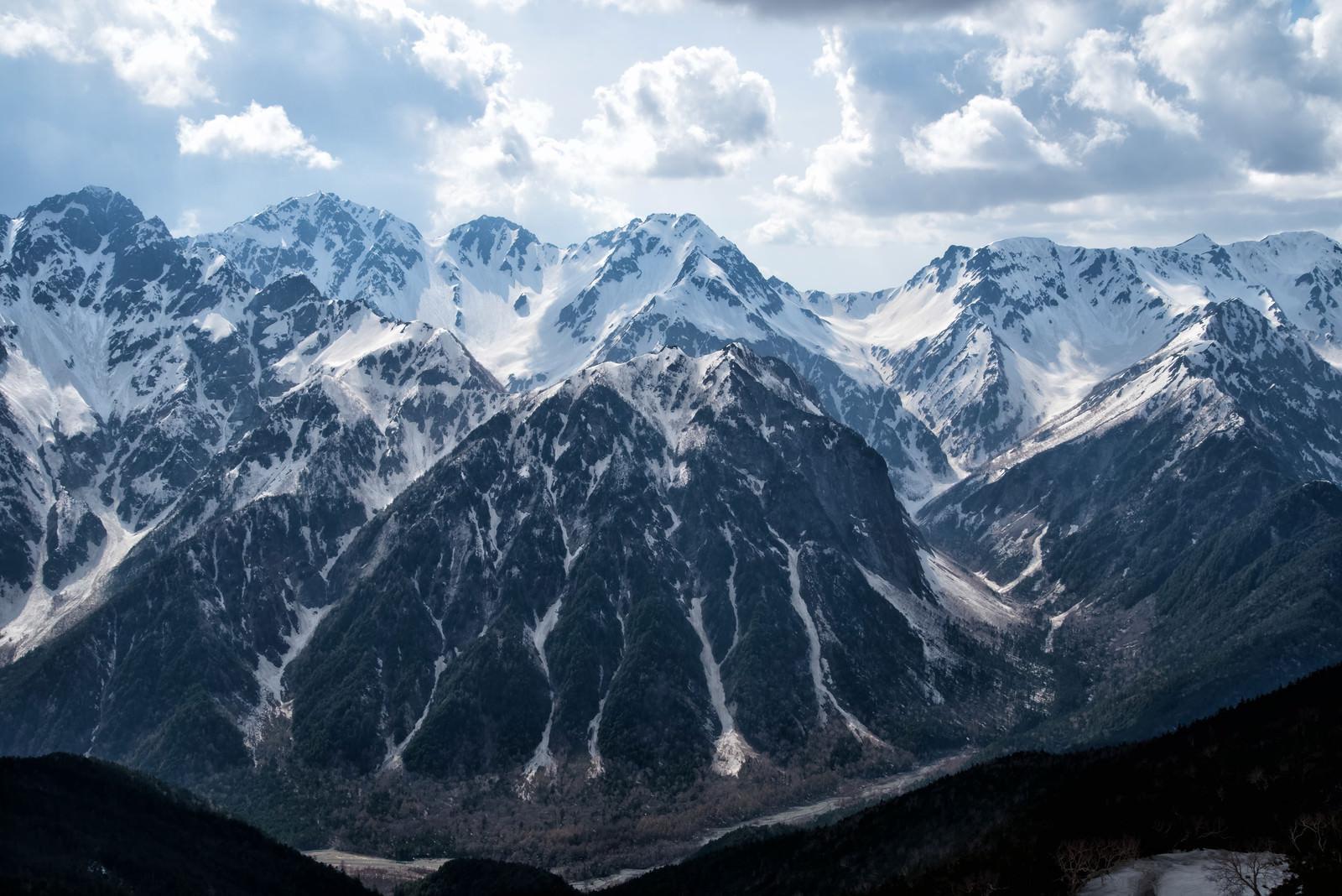 「蝶ヶ岳から見下ろす巨大な屏風岩(飛騨山脈)」の写真