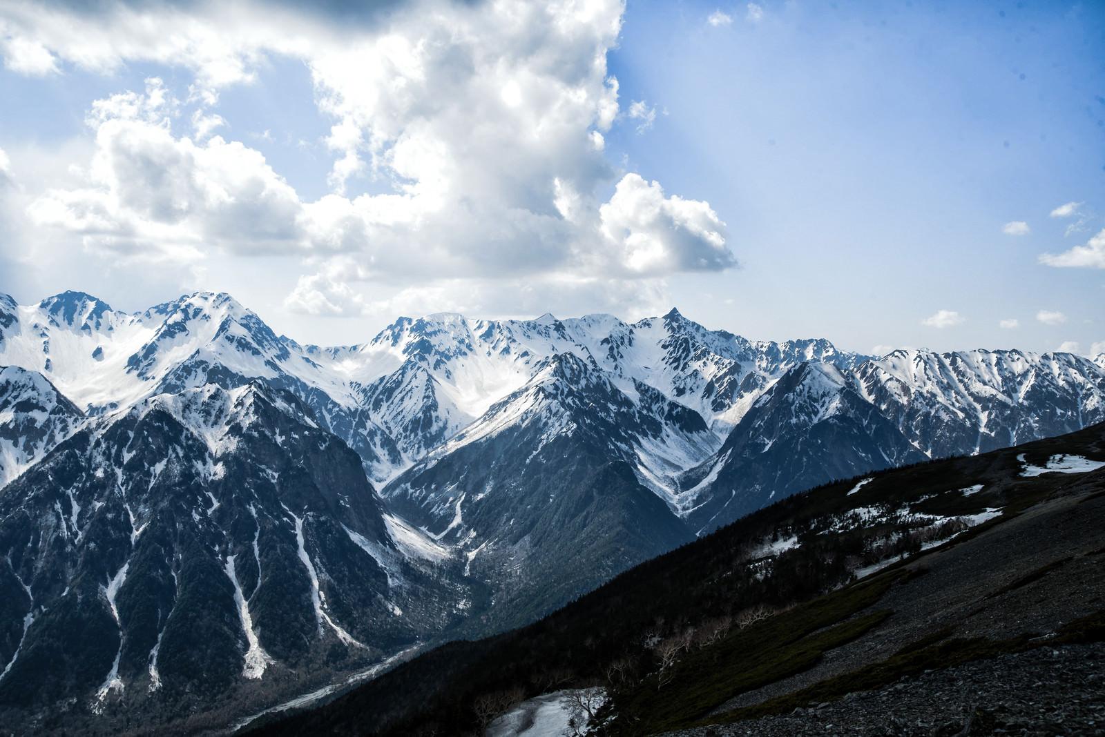 「蝶ヶ岳から望む残雪の槍ヶ岳(飛騨山脈)」の写真