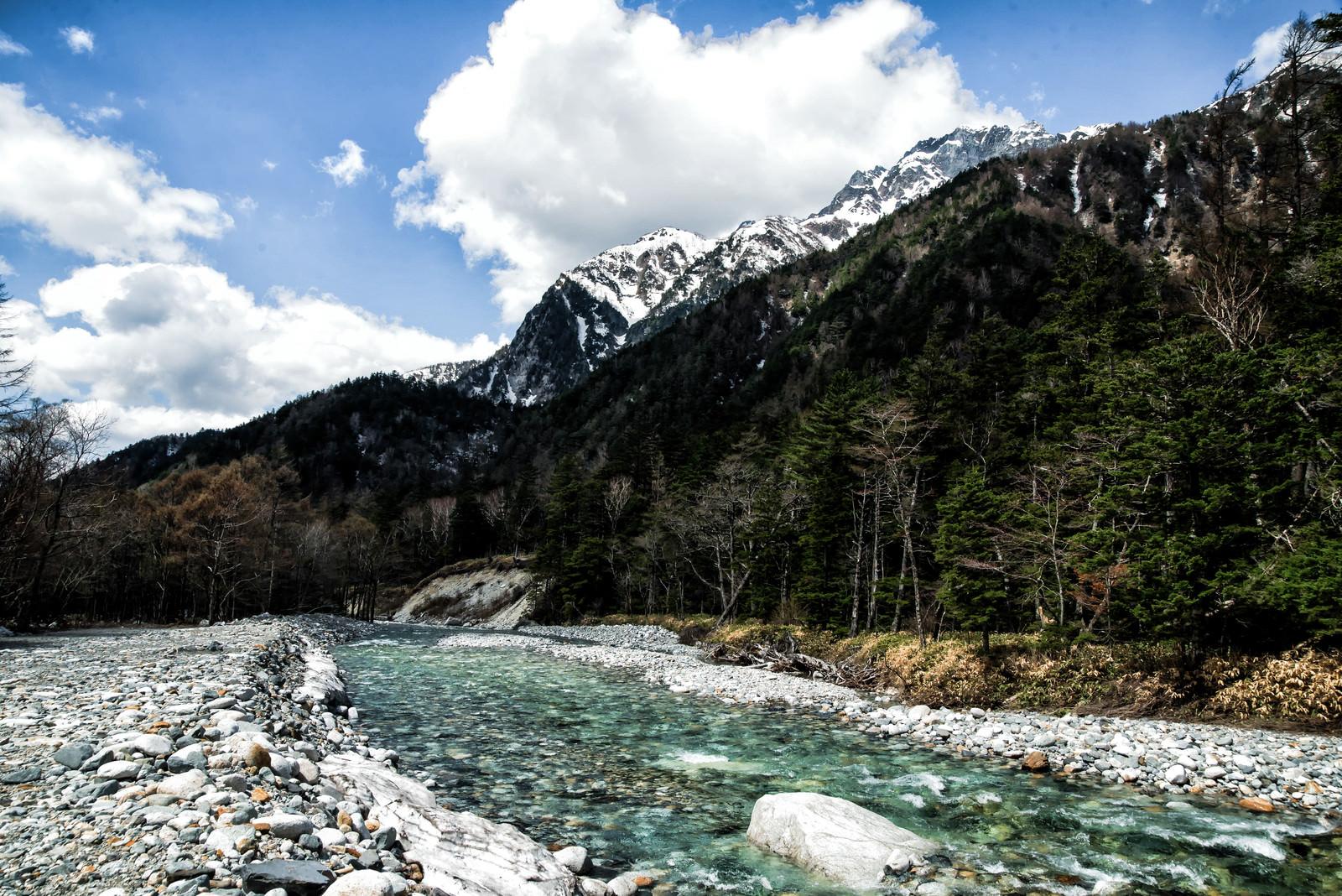 「麓の梓川の流れ(上高地)」の写真