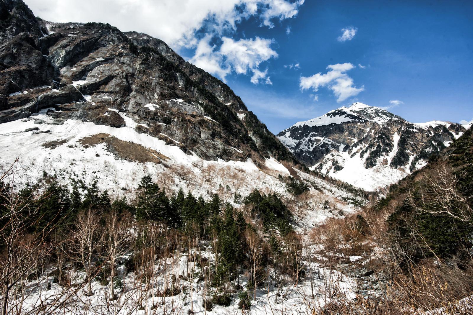 「屏風岩と残雪の北穂高岳(北アルプス)」の写真