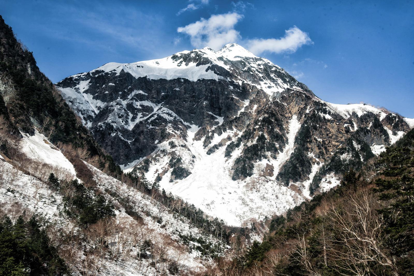 「本谷橋付近から見る北穂高岳(北アルプス)」の写真