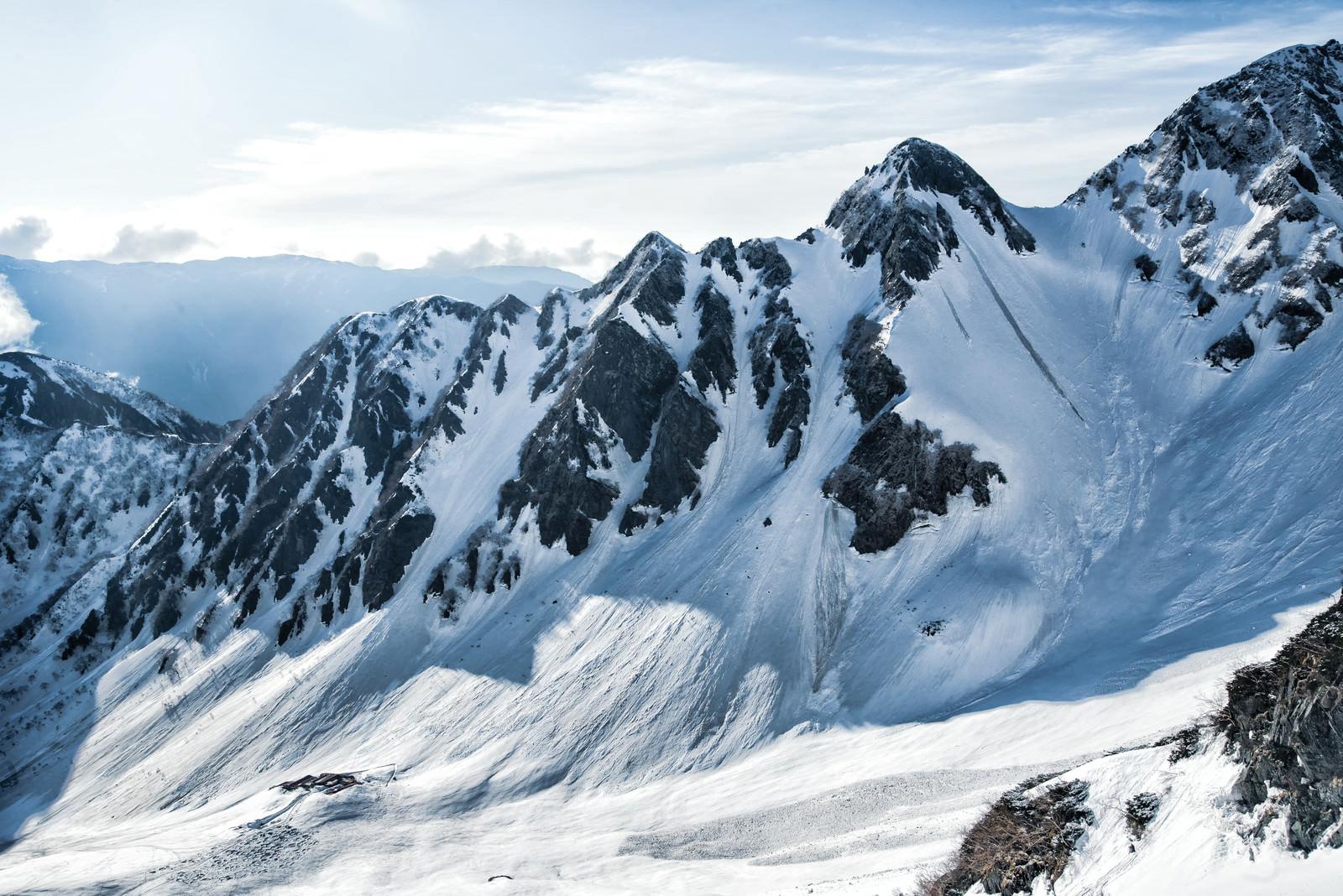 「雪で覆われた涸沢ヒュッテと前穂高岳北尾根(北アルプス)」の写真