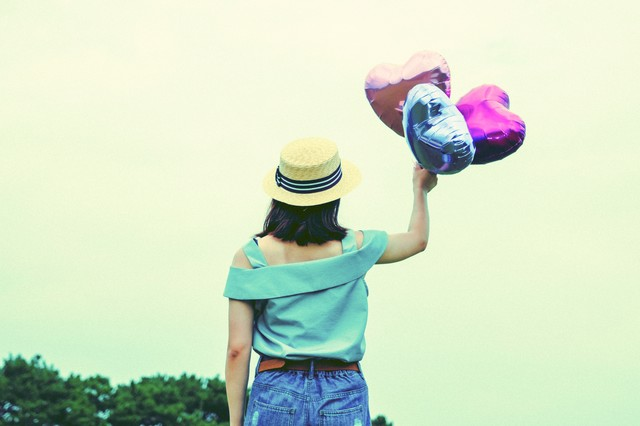 風船のハートで飛んでいきたいの写真