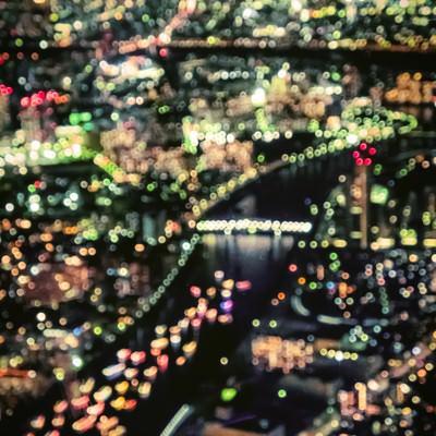 丸ボケの都市夜景の写真