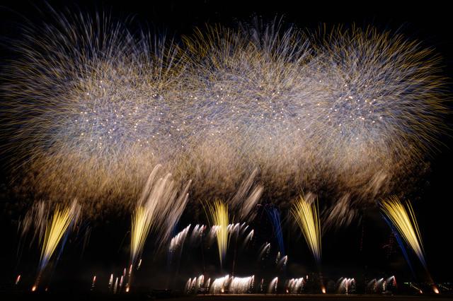 炸裂する打上花火の写真