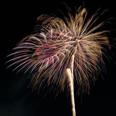 夜空と打上花火の写真