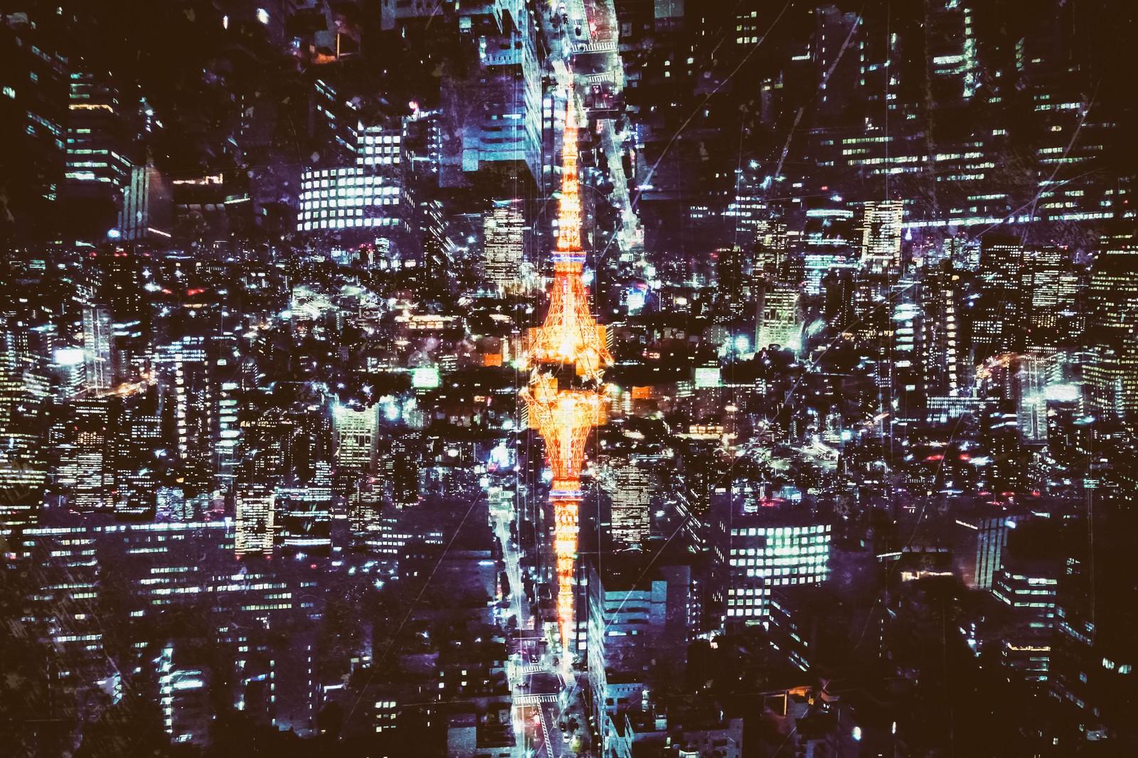 「反射する東京のシンボル(夜景)反射する東京のシンボル(夜景)」のフリー写真素材を拡大
