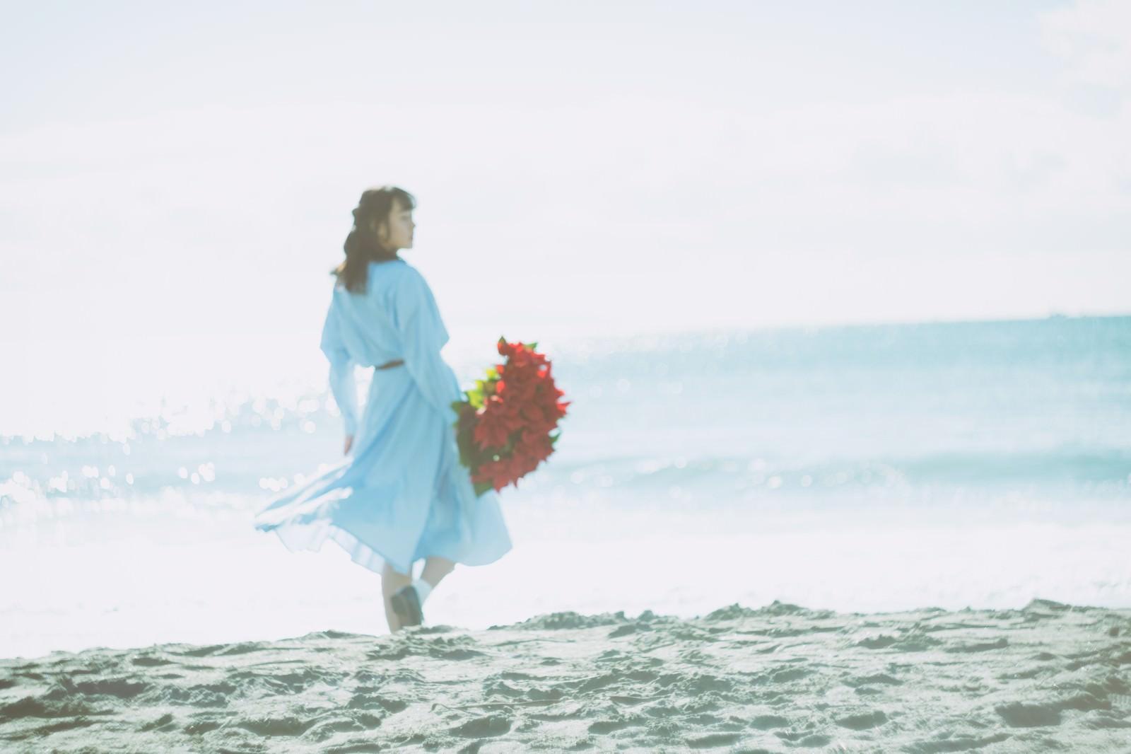 「赤い花束を持ち砂浜を歩く女性の後ろ姿」の写真[モデル:Mizuho]