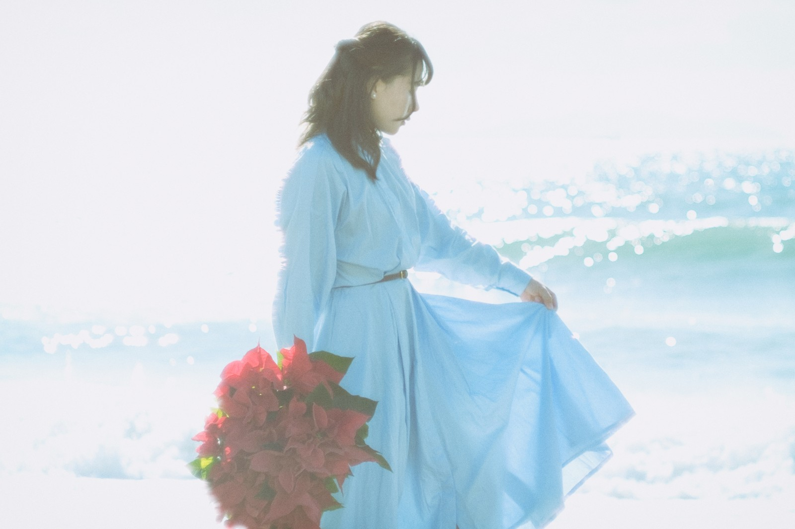 「海辺と赤いポインセチアと女性」の写真[モデル:Mizuho]
