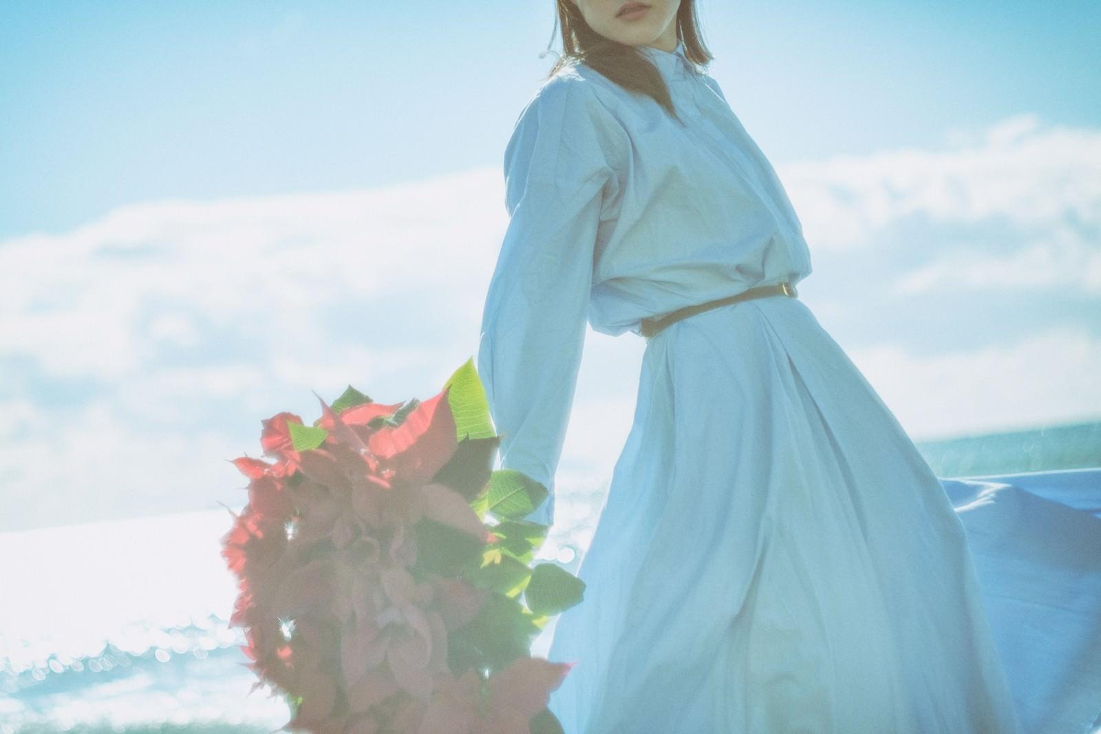 「よく晴れた海辺とポインセチアの束を持った女性」の写真[モデル:Mizuho]
