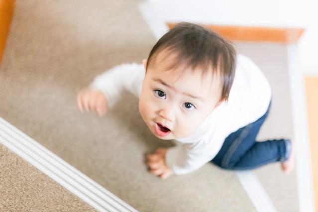 いつの間にかハイハイで階段をのぼれるようになった赤ちゃんの写真