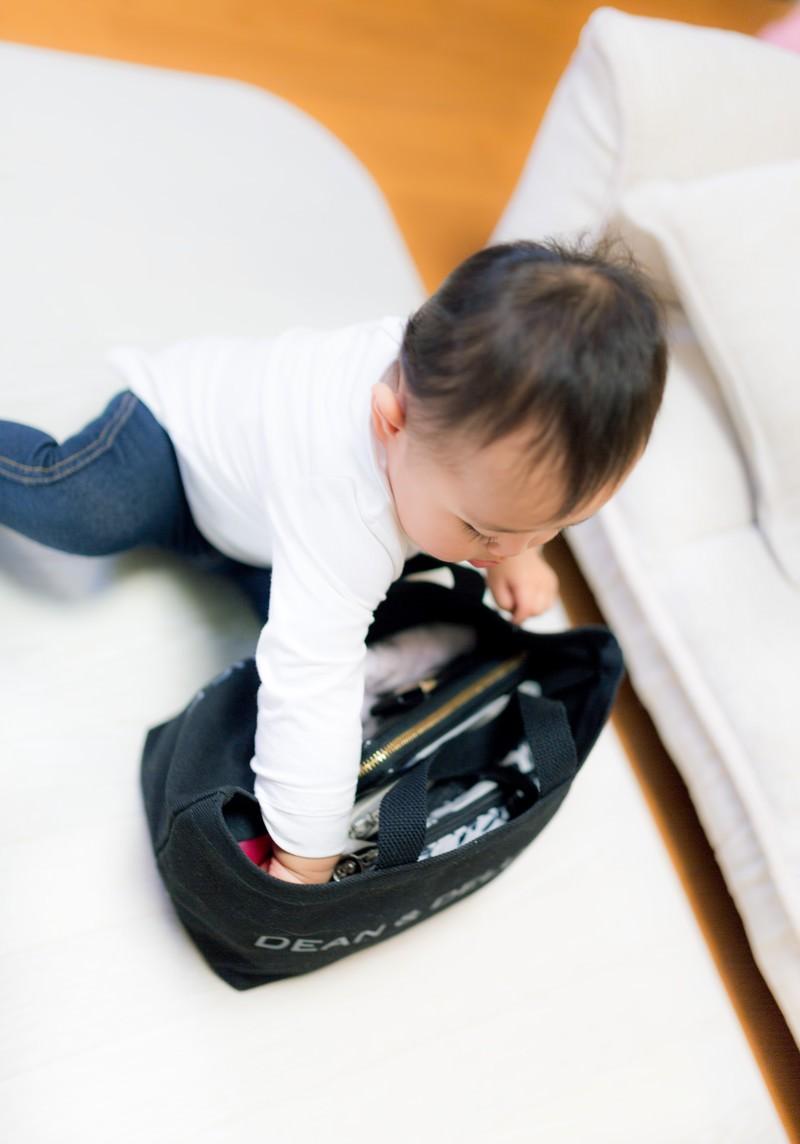 「親のかばんの中を漁る赤ちゃん」の写真[モデル:Lisa]