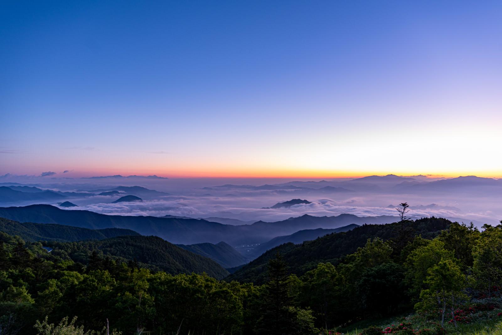 「朝焼けの空と雲海」の写真