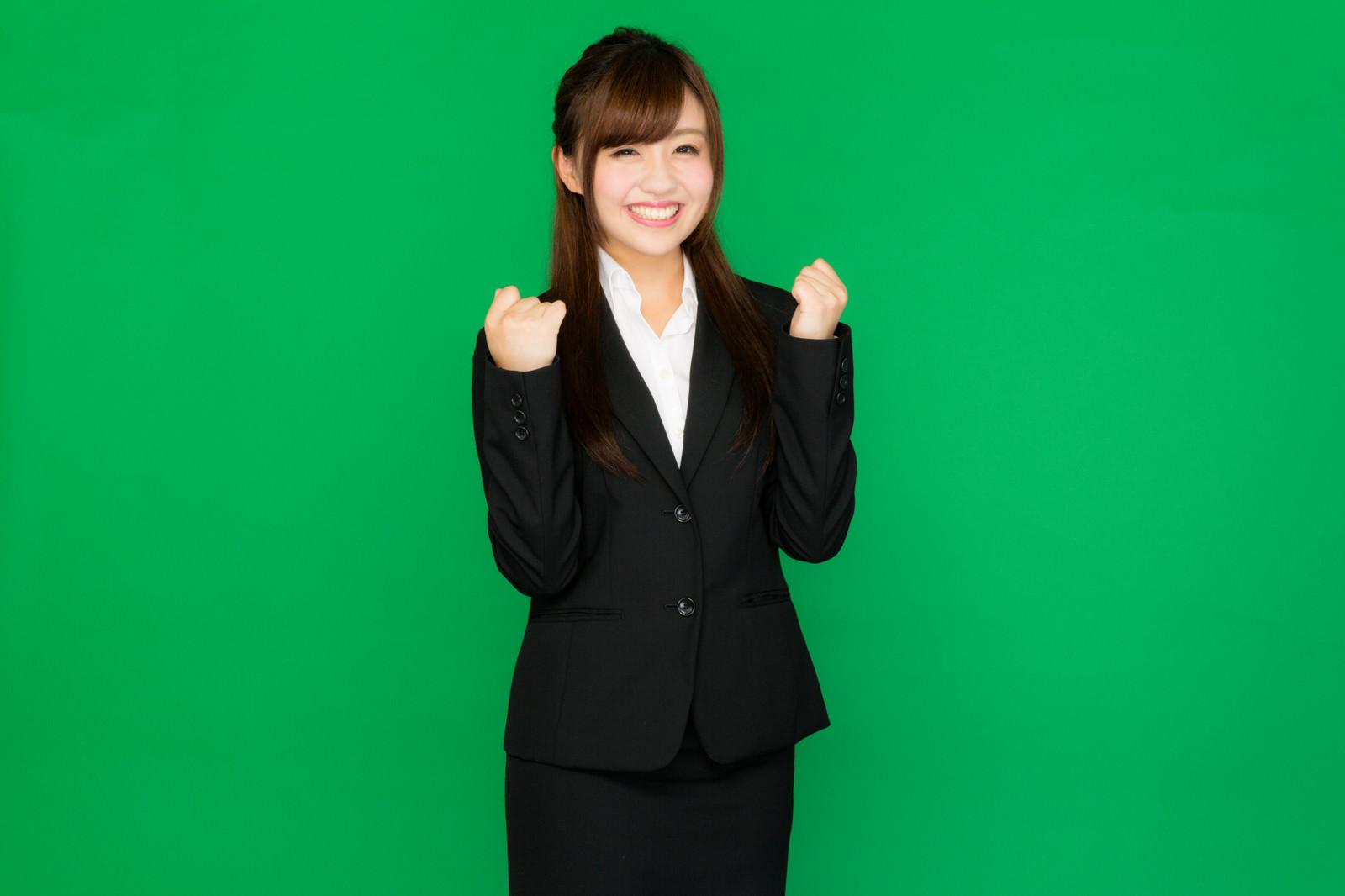 「お仕事、頑張っていきましょう!(グリーンバック) | 写真の無料素材・フリー素材 - ぱくたそ」の写真[モデル:河村友歌]