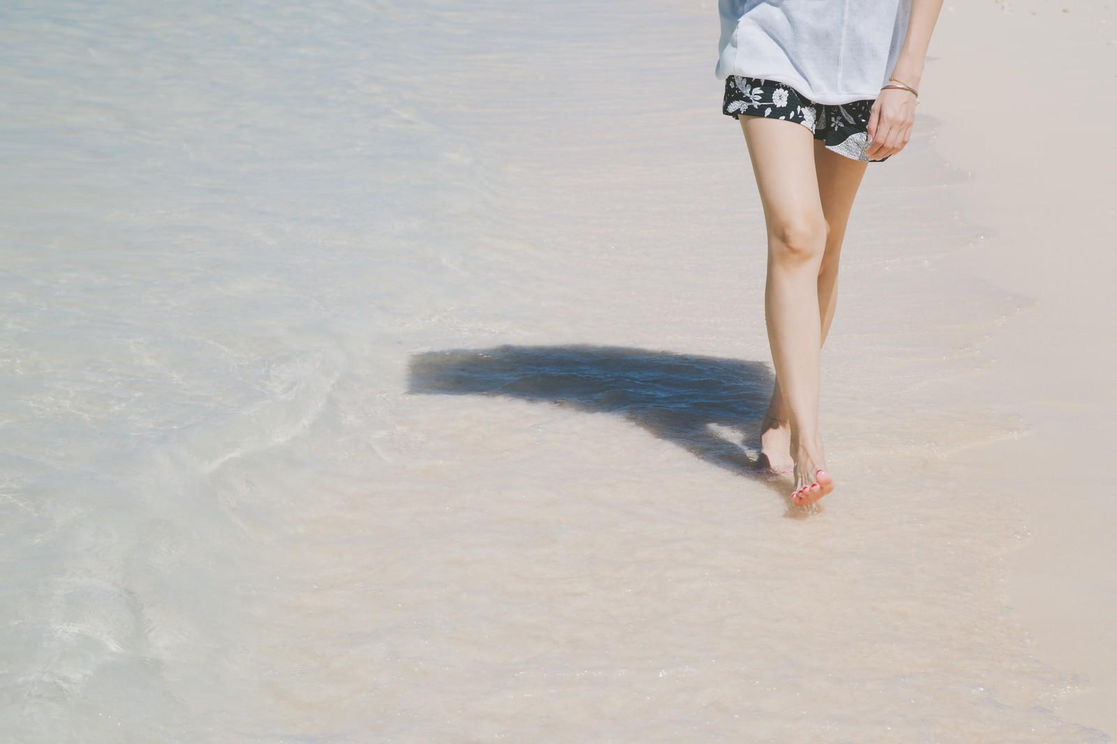 「日傘をさして砂浜を歩く女性の足元」の写真