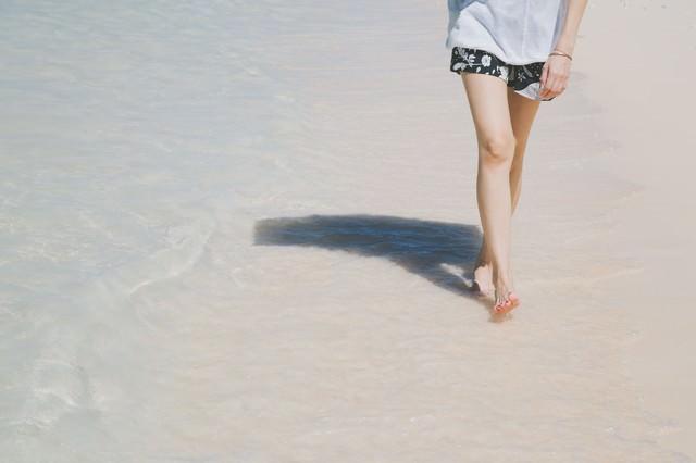 日傘をさして砂浜を歩く女性の足元の写真