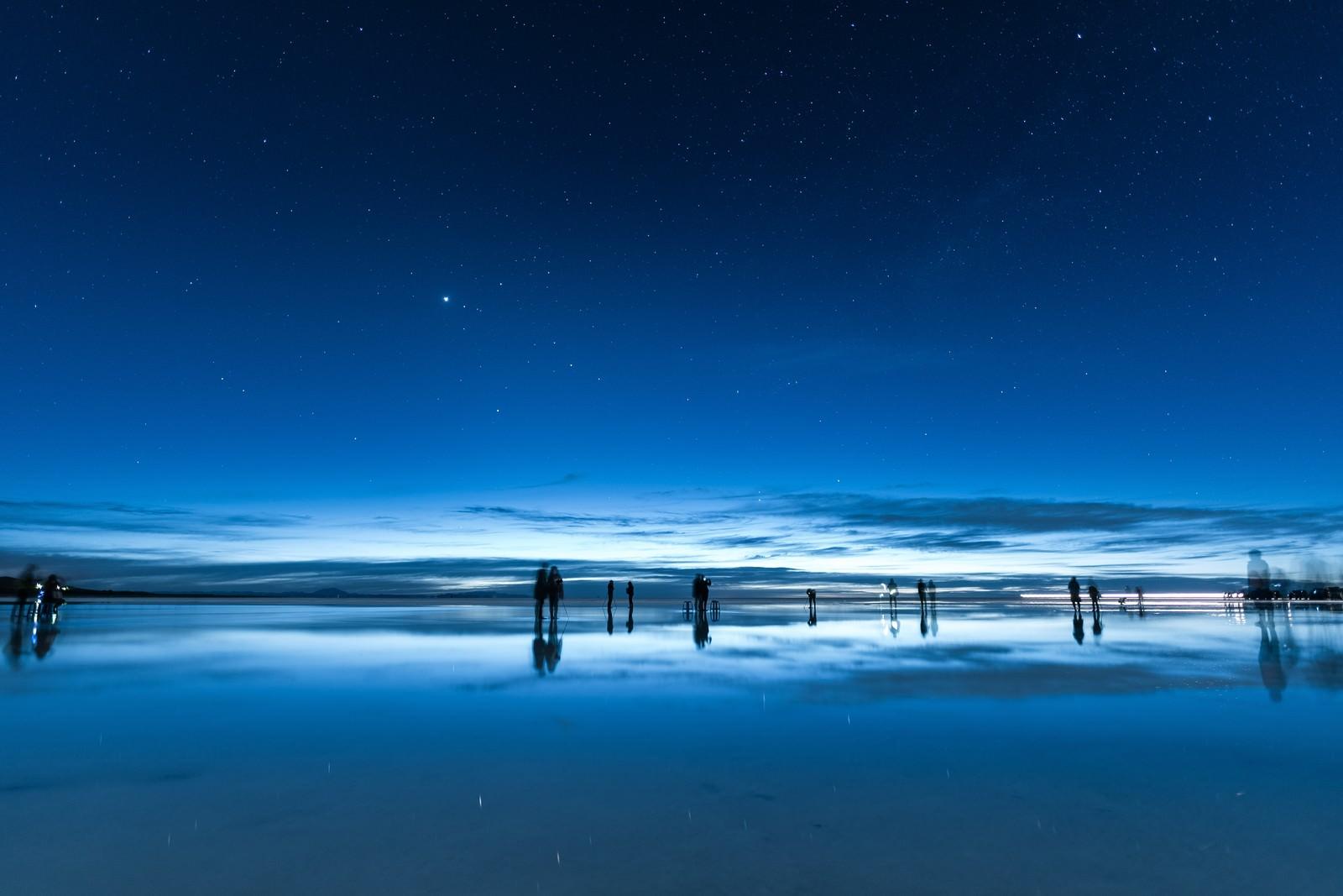 「日が暮れたウユニ塩湖」