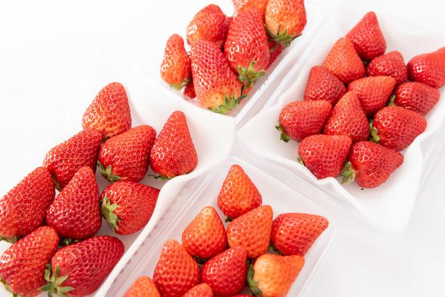 パックに入った苺の味比べ(章姫、紅ほっぺ、あまおう、さがほのか)の写真