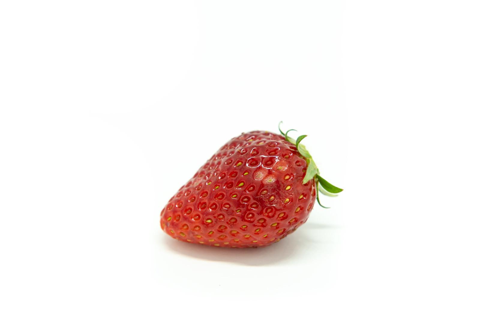 「うどんこ病が付着した苺」の写真