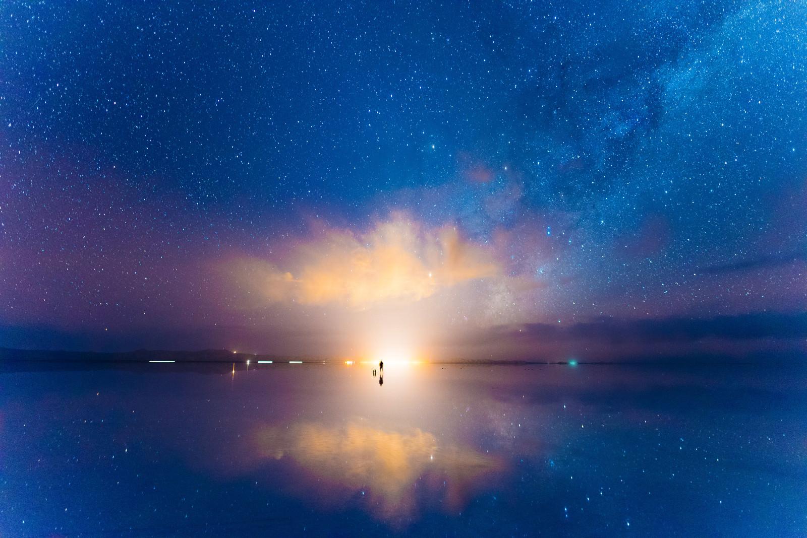 「夜が明ける(ウユニ塩湖)」の写真