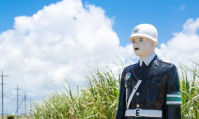 今日も宮古島の交通安全を願う宮古まもる君の写真