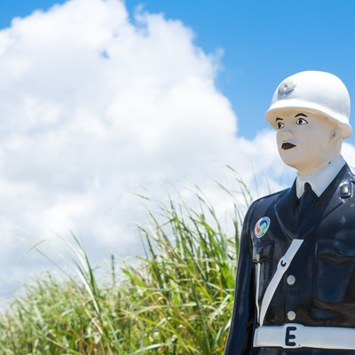 「今日も宮古島の交通安全を願う宮古まもる君」の写真素材