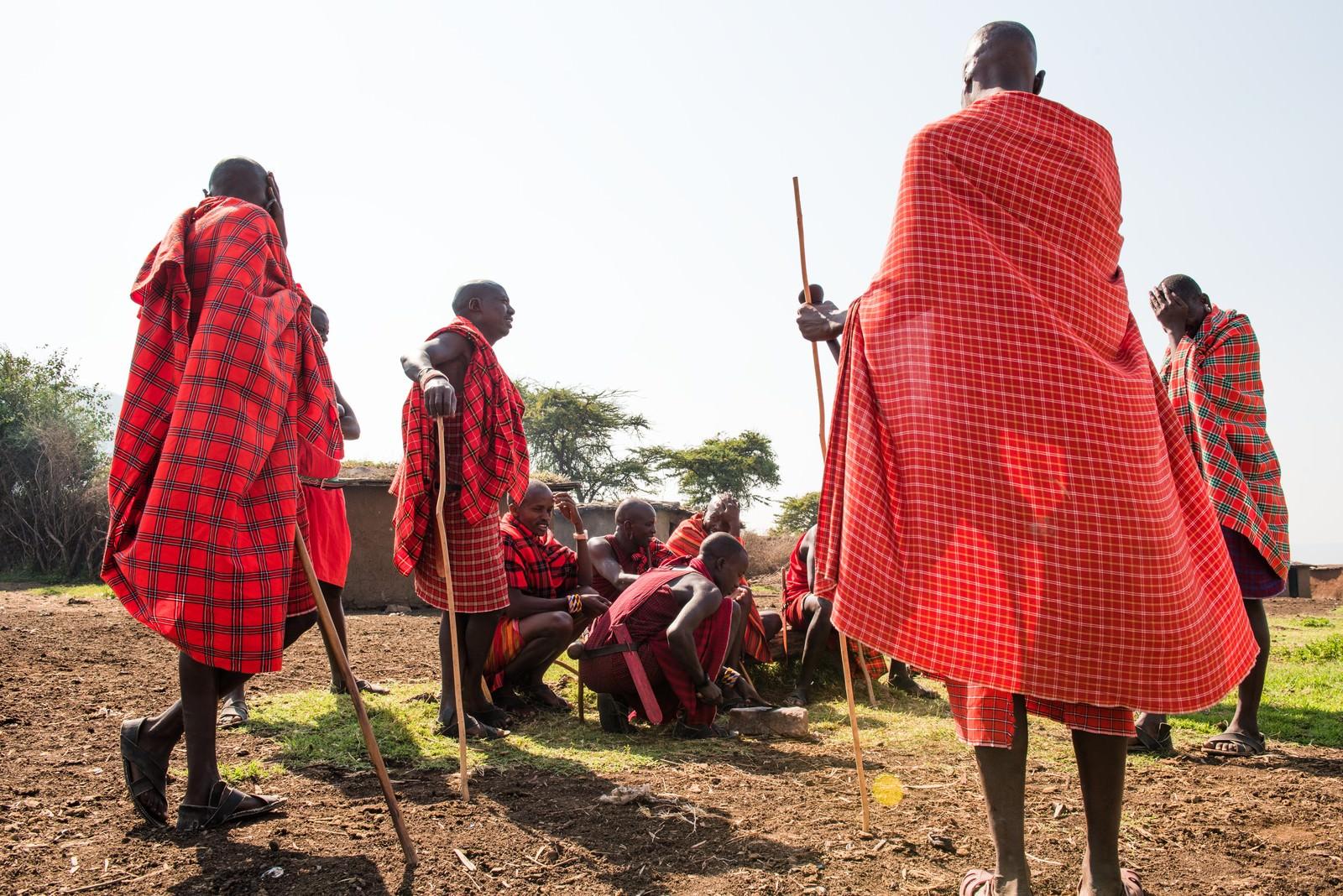 「マサイ族集まる」