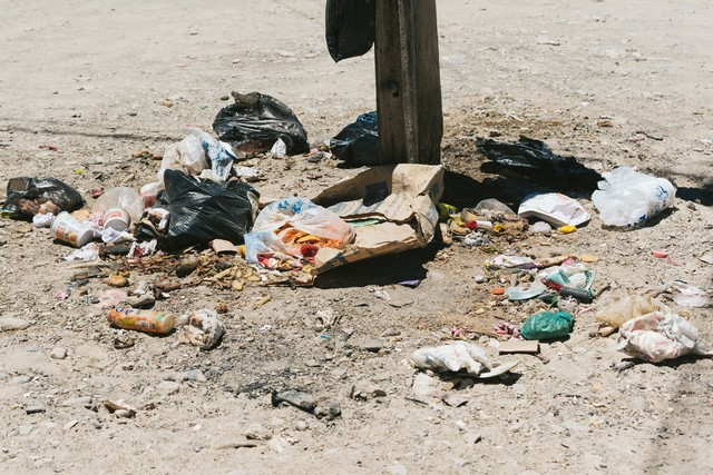 ポイ捨てされたゴミ(食べ残し)の写真