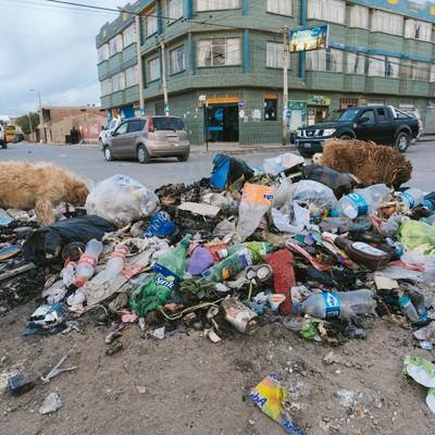 「散乱するゴミを漁る野犬達(ウユニ市の現状)」の写真素材