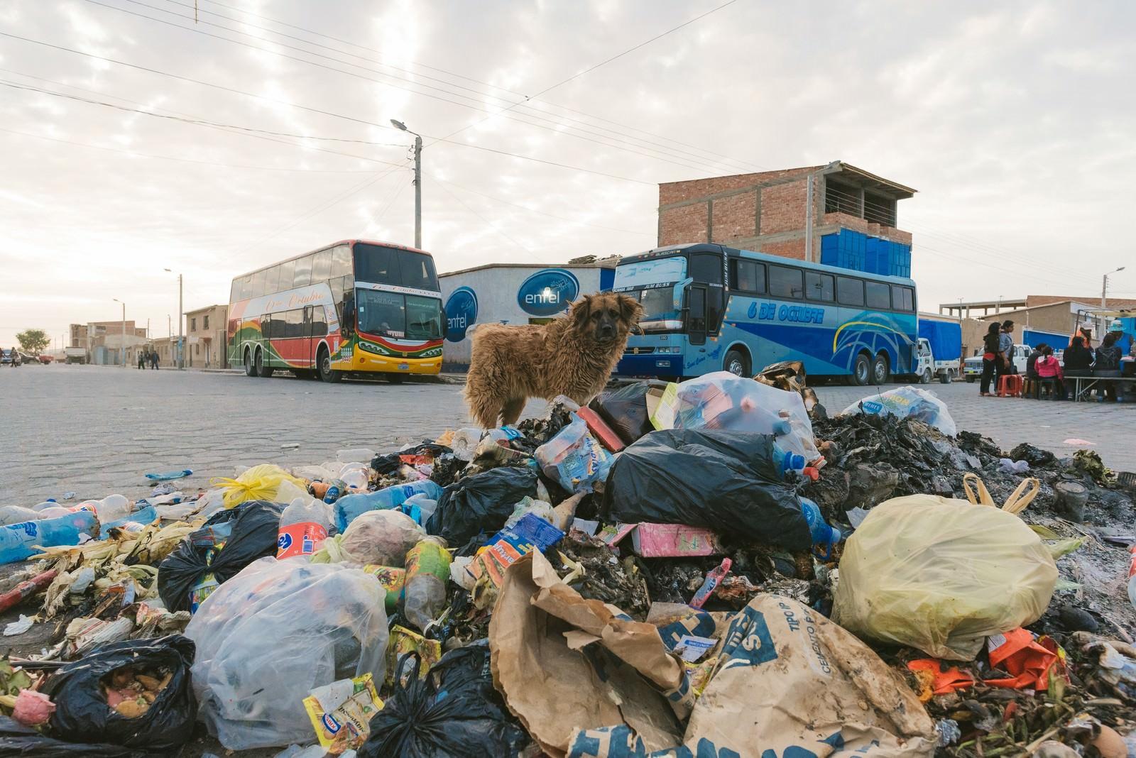 「ウユニ塩湖の絶景を見にくる観光バスとウユニ市の現状(ごみ廃棄物問題)」の写真