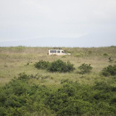 「草原を走るサファリカー」の写真素材