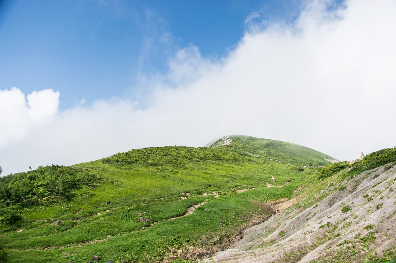 「沸き立つ雲の中へと続く登山道」の写真
