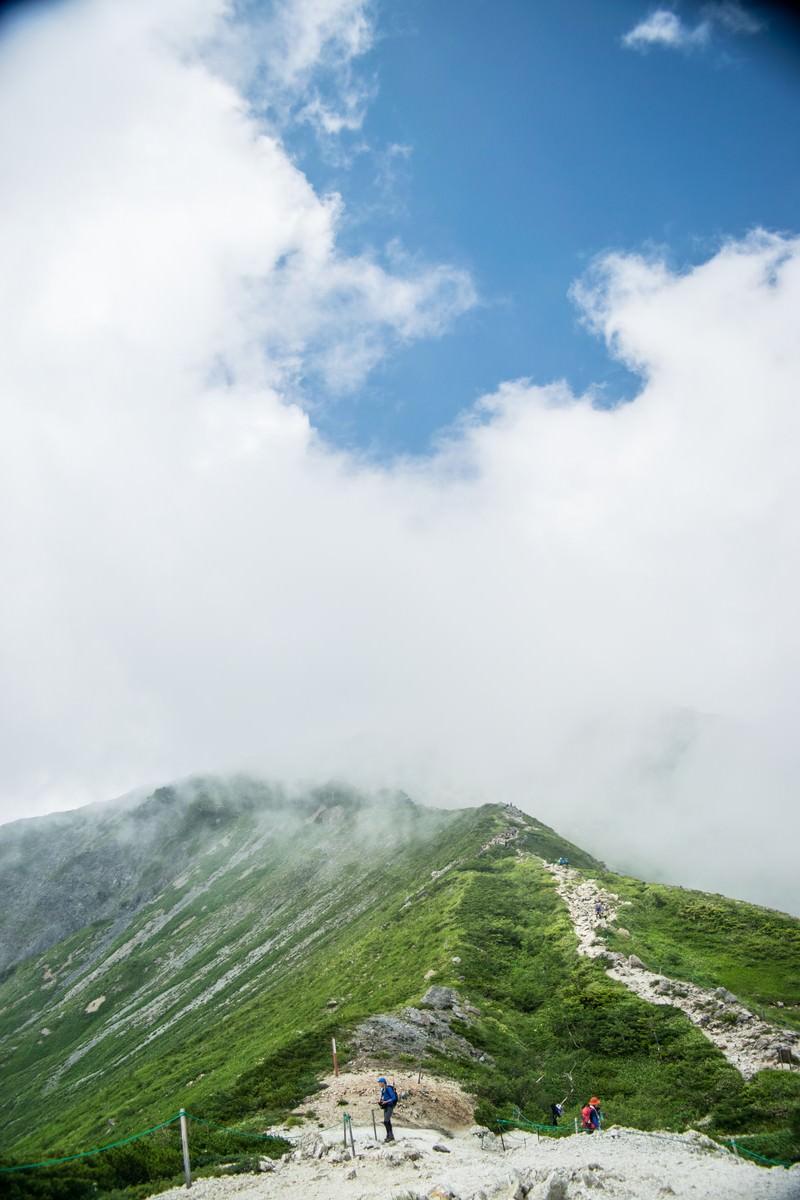 「登山者と稜線」の写真