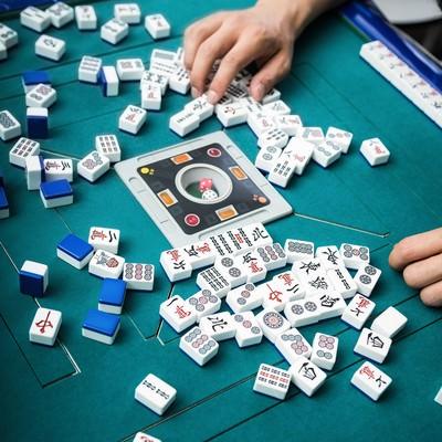 「牌をチェック中」の写真素材