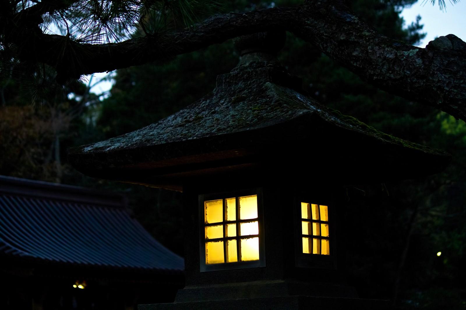 「灯りを燈す石灯」の写真