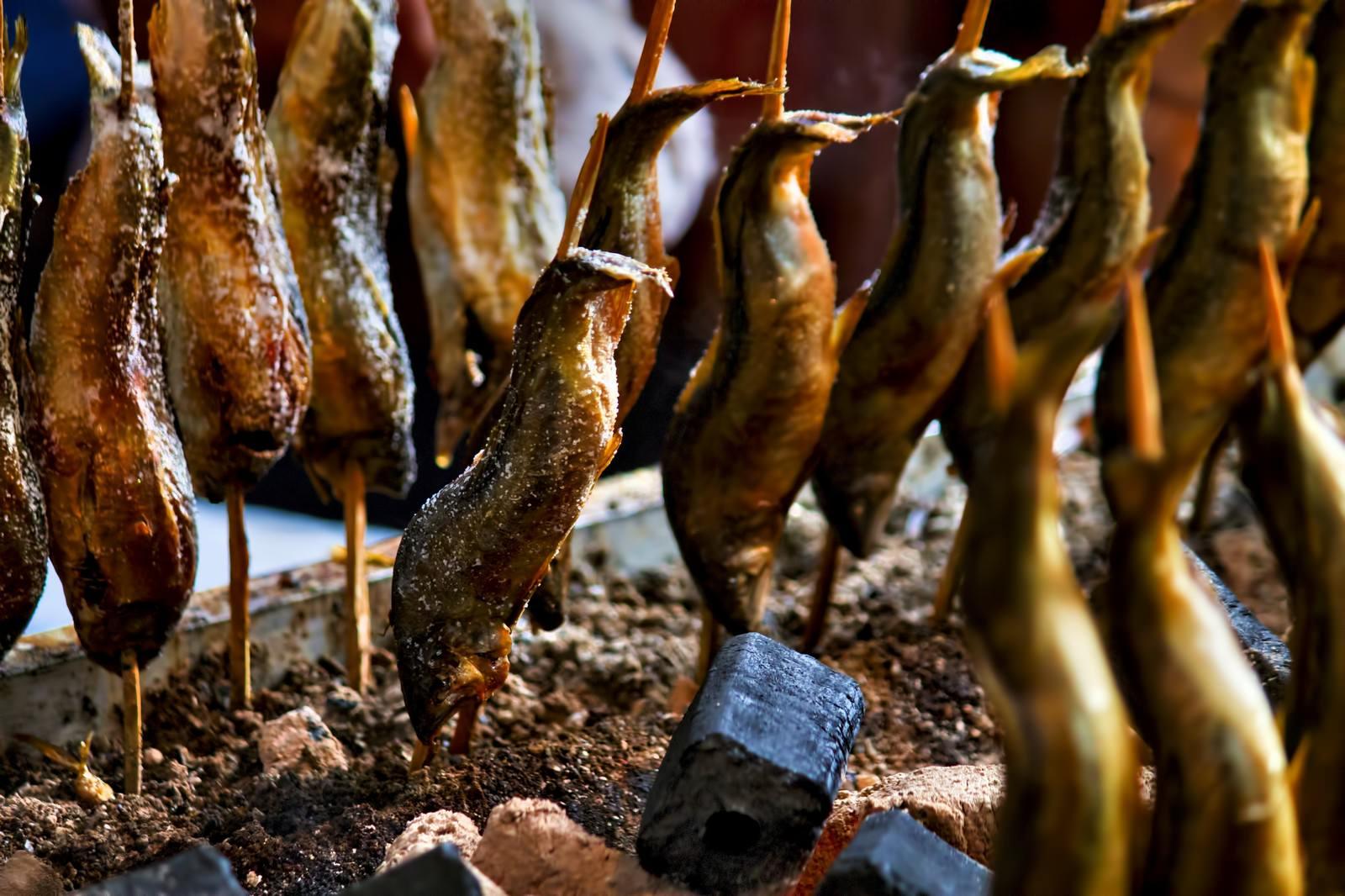 「出店で焼かれた鮎の塩焼き」の写真