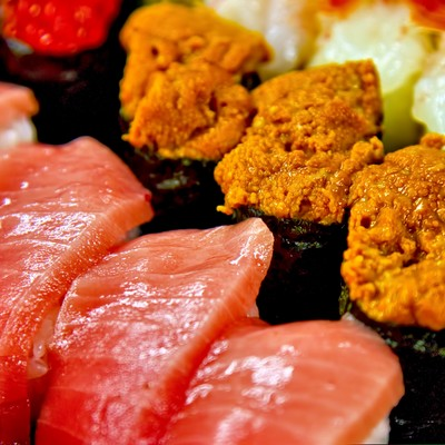 「うにとトロのお寿司」の写真素材