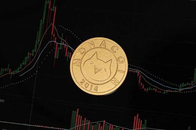 仮想通貨のチャートとモナコインの写真
