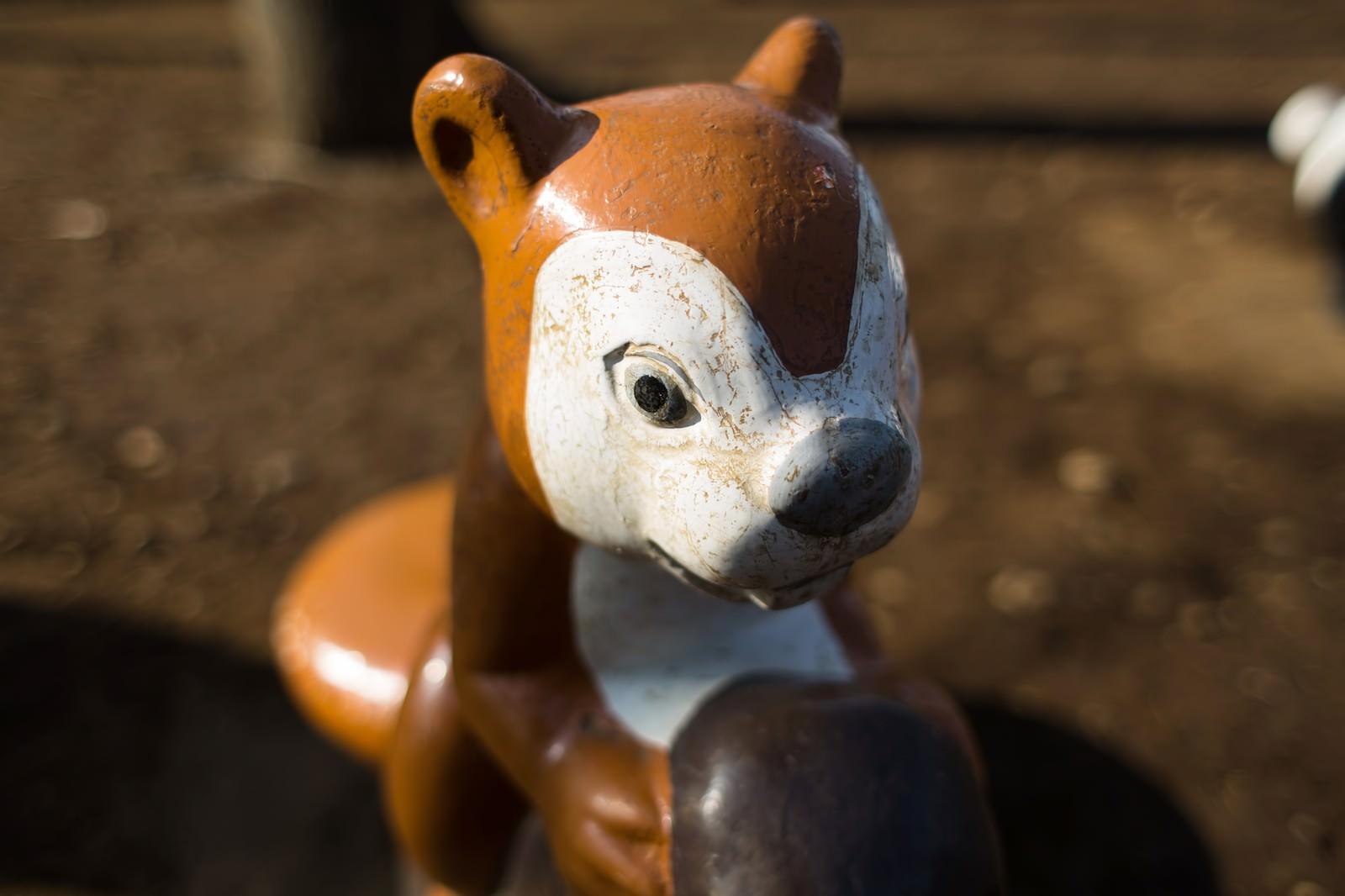 「ボロボロのりすの遊具」の写真