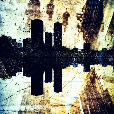 「反射する街(フォトモンタージュ)」の写真素材