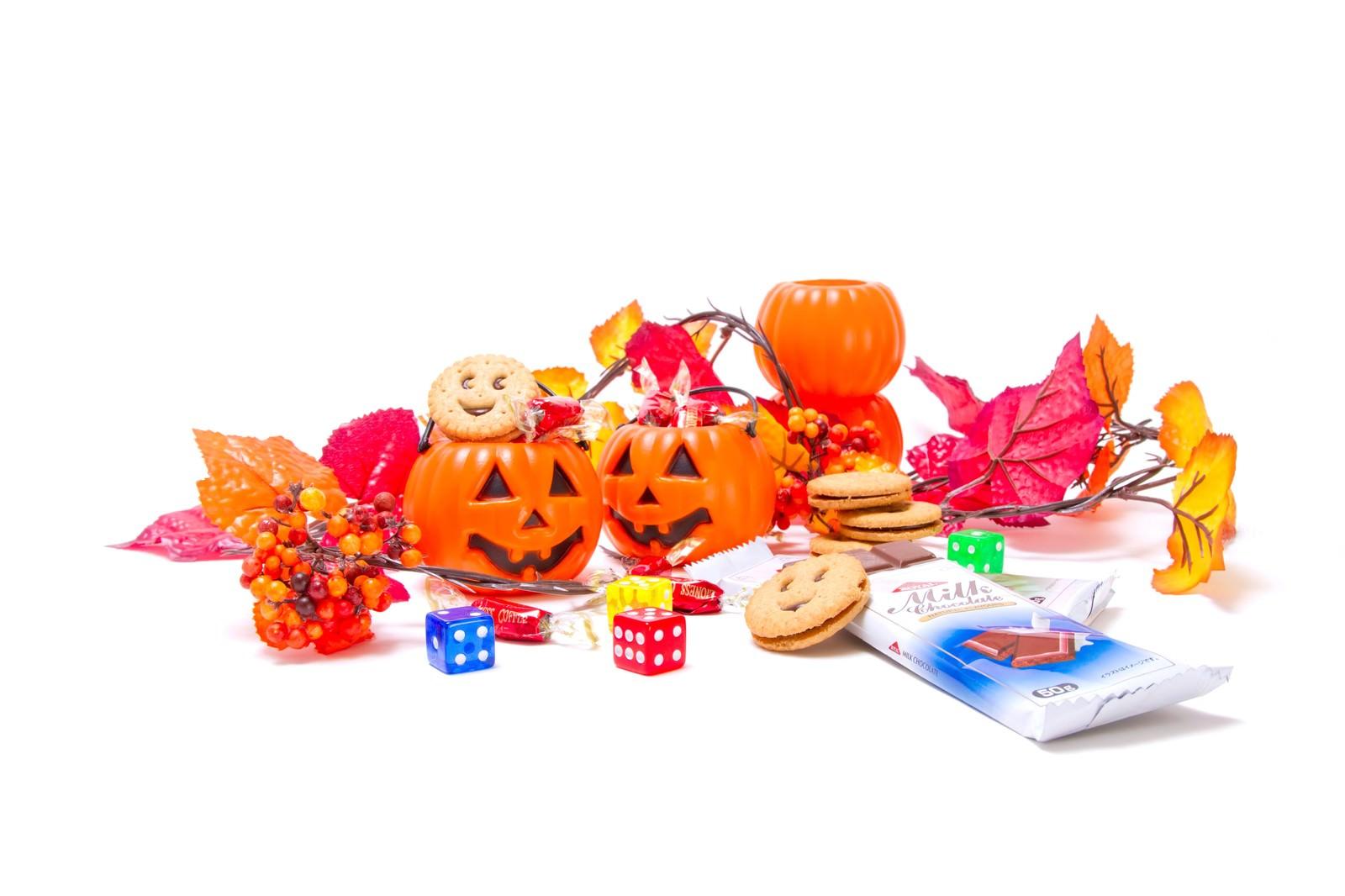 「ハロウィンかぼちゃとお菓子」の写真