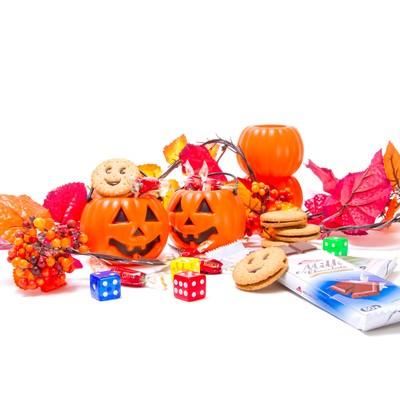 ハロウィンかぼちゃとお菓子の写真