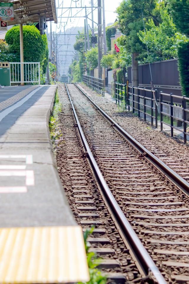 江ノ電の線路の写真