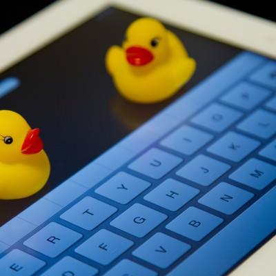「タブレットとキーボードとあひるちゃん」の写真素材